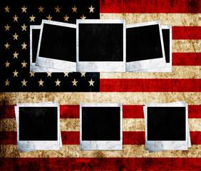 Blank photo frames on USA flag