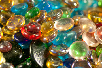 closeup of colored glass beads