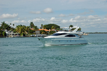 White Motor Yacht Off Dilido Island in Miami Beach