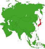 Location of Japan on the Asia continent poster