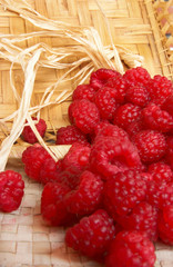 Placer of some organic red raspberries