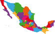 Vector colorful Mexico map with state borders