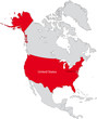Location of the USA on the North America continent