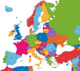 Fototapety Colorful Europe map with countries and capital cities