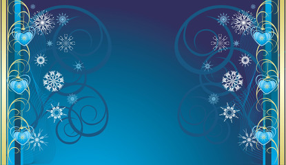 Blue Christmas toys with snowflakes. Banner. Vector