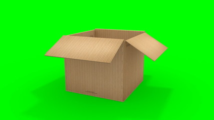 Big cardboard box opening - HD video 1920x1080 from 3d animation