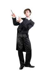 A young man in a black tailcoat is looking up, isolated