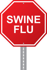 Swine Flu Red Road Sign Vector Image