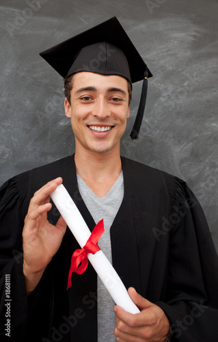 Teen Guy Celebrating Graduation in the class