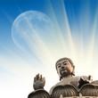 Fototapete Himmel - Mond - Statue