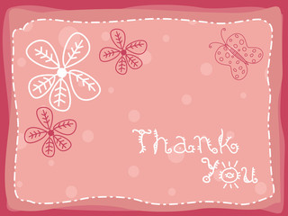 abstract floral background with thankyou text and flowers
