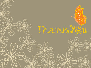 abstract background with flowers and thankyou text