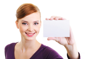 joy female person with blank white small card in hand