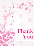 abstract pink floral background with thankyou text