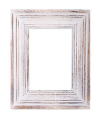 stylish wooden photo frame over white background