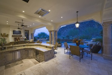 Sunken kitchen area of split level kitchen in Palm Springs home