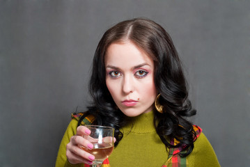 girl with wine in squared waistcoat