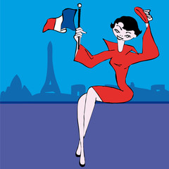Woman flagged view of Paris France