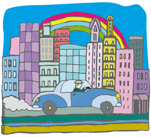 Panorama city with car vector illustration