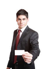 Businessman presenting card