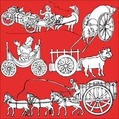 Illustrations of a wooden cart medieval vector