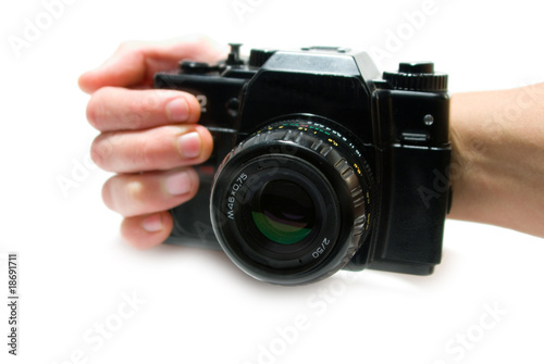 The camera isolated on a white background