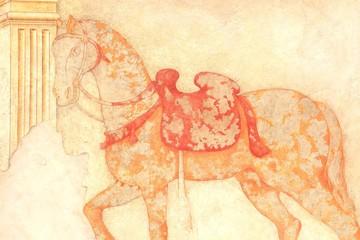 Pferd mit Sattel, Fresko, Wandmalerei, Italien