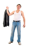 Jeans Macho Boy With Leather Jacket. Studio Shoot Over White Bac poster