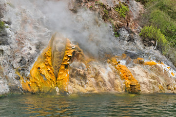 steaming Donne Cliffs, Lake Rotomahana, Waimangu, NZ
