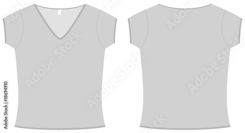 Ladies V-neck T-shirt template vector illustration
