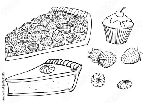 Fototapete Kuchen Muffins Erdbeeren Torte Obstkuchen