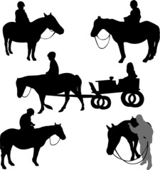 children riding horses - vector
