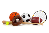 Fototapety Assorted sports equipment on white