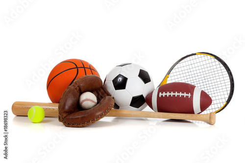 Assorted sports equipment on white - 18698323