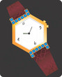 Illustration of golden diamond studded wrist watch
