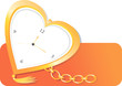 Illustration of golden pocket watch in heart shape