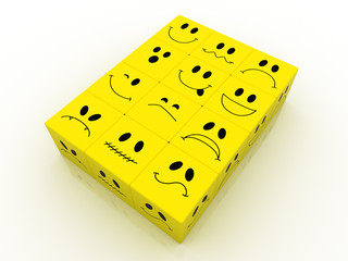 emotions faces in a yellow cubes emoticon