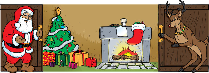 Santa and Reindeer opening doors