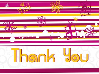 pink abstract background with gifts and thankyou text