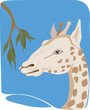 Illustration of a giraffe heading to eat leaf