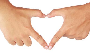 Hands shaping a heart.