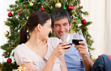 Wife and husband drinking wine at homa at Christmas time