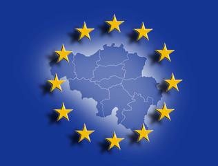 Belgien mit Europafahne