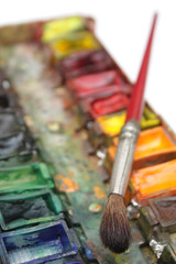 well-used brush and paintbox