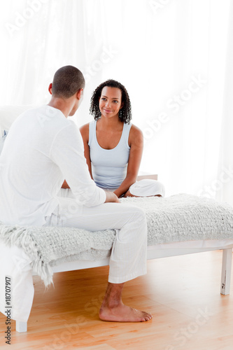 Smiling woman talking with her lover