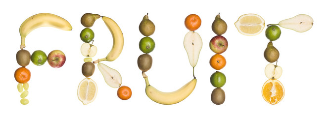The word 'fruit' made out of fruit