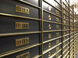 Rows of luxurious safe deposit boxes poster