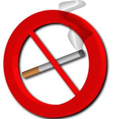Señal prohibido fumar con humo fondo blanco