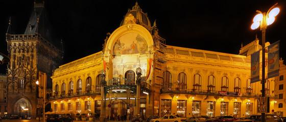 Municipal House, Prague, Czech  Republic, night view .