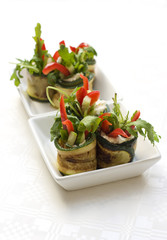 zucchini rolls with cheese and vegetables
